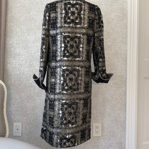 Christian Lacroix  metallic silk black beige coat